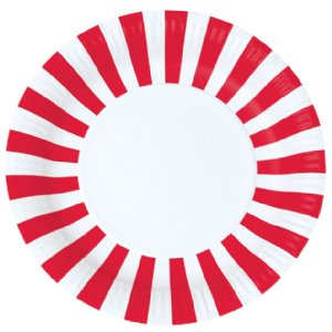 Pirate party plate candy cane red stripe